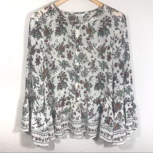 Max Studio Floral Print Bell Sleeve Button Down